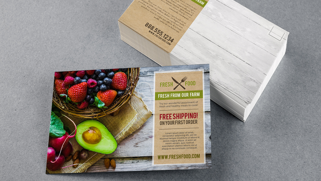Food industry postcard marketing design