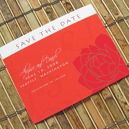 Peony Flourish Save the Date Cards