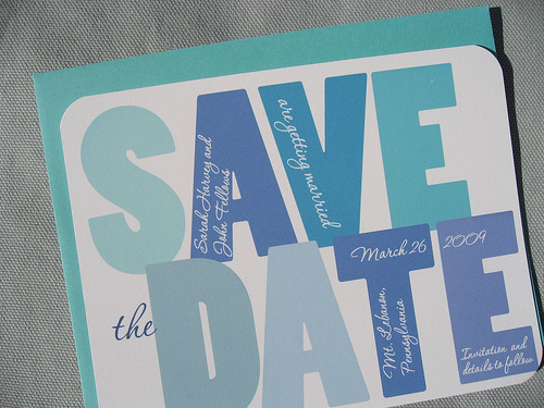 Shades of Blue Big Letters Save the Date Invitation