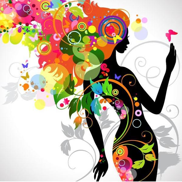 Girl Silhouette with Colorful Floral Head Vector Graphics