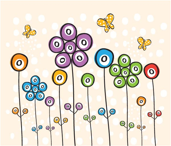 Spotty Flowers Vector Graphics