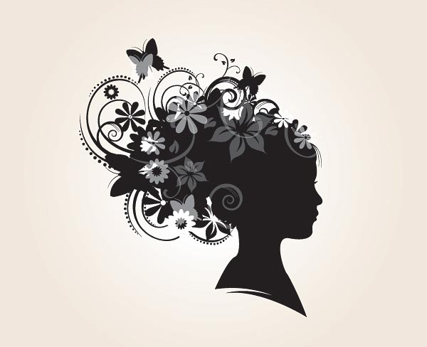 Floral Hairstyle Silhouette Vector Graphics