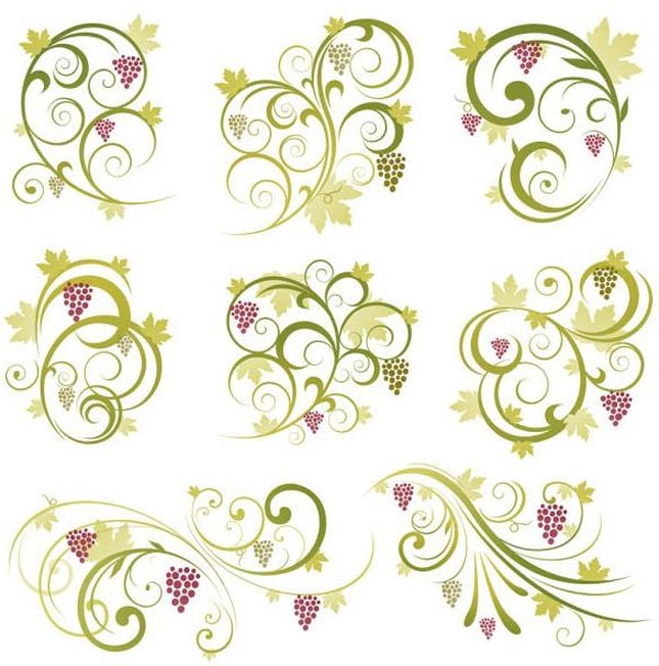 Abstract Floral Vine Grape Ornament Vector Graphics