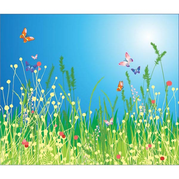 Butterfly on Beautiful Grass Vector Graphics by cgvector