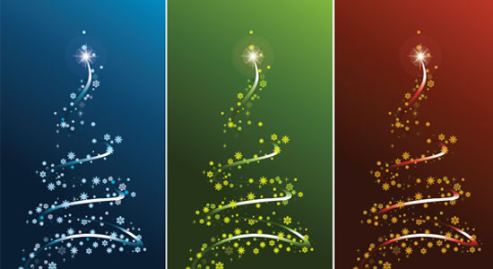 Stylized Vector Christmas Tree Set