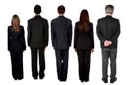 Business Men and Women Facing Backward
