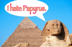 Papyrus Font with Sphinx