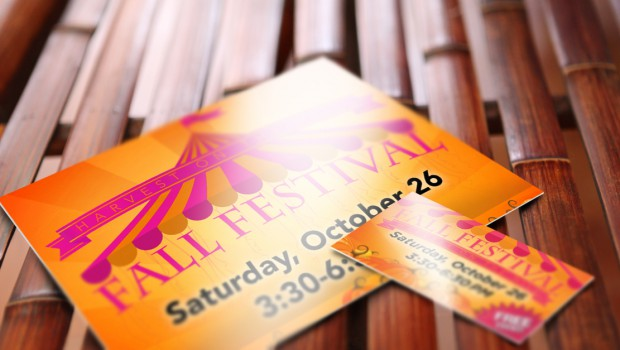 Church Fall Festival Postcard & Business Card