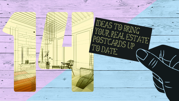 Title image showing 14 ideas for real estate postcard