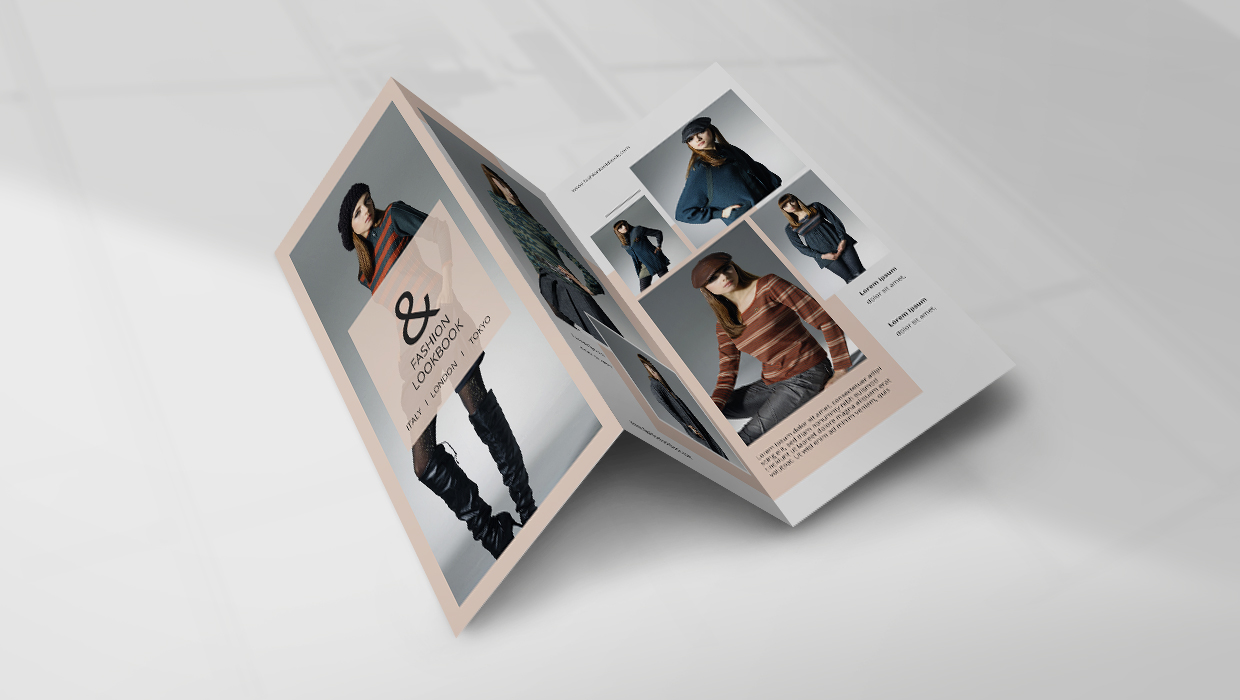 Example of a fashion-related minimalist brochure.