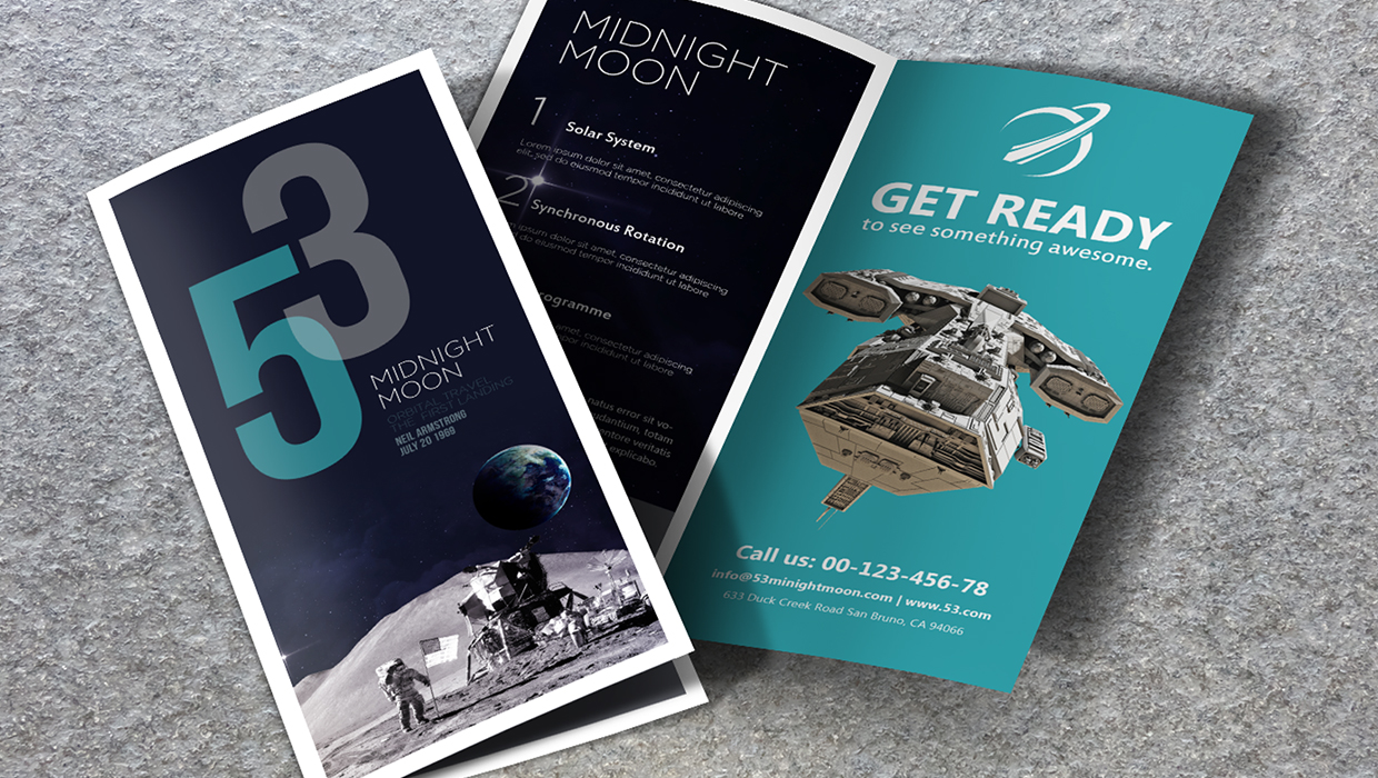 Space-themed minimalist brochure design