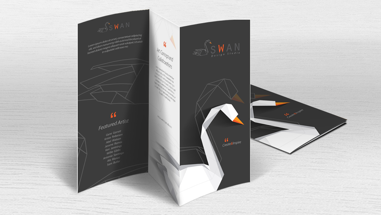 Multi-fold minimalist brochure with swan