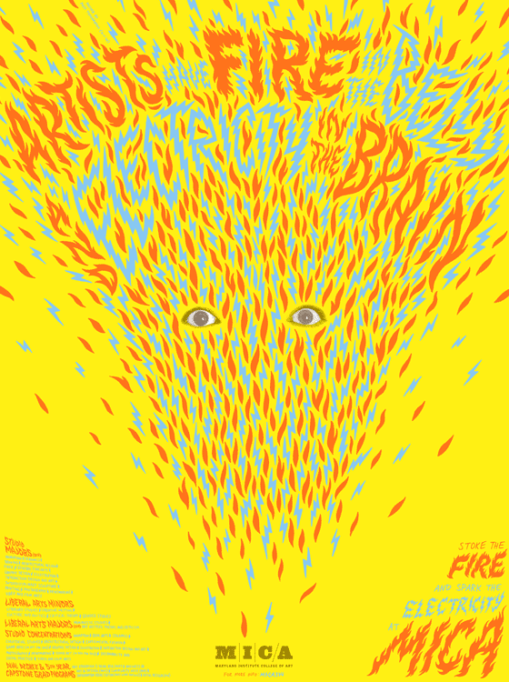 Maryland Institute College of Art - Yellow fire poster