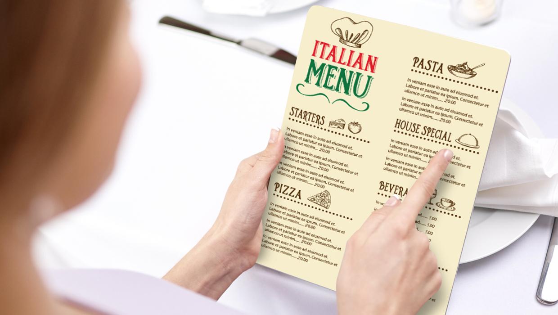 Classy Italian menu example