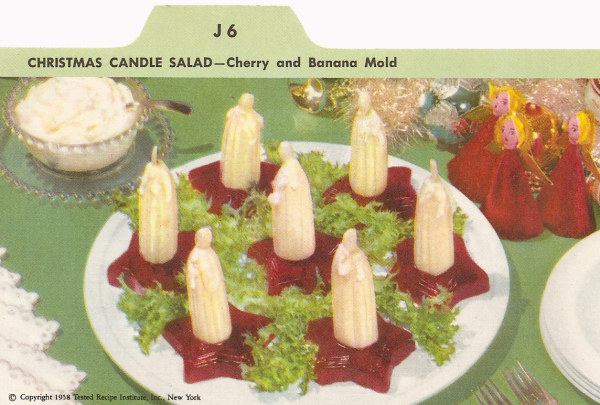 50s cherry and banana mold recipe card