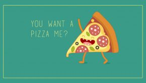 Pizza food puns card