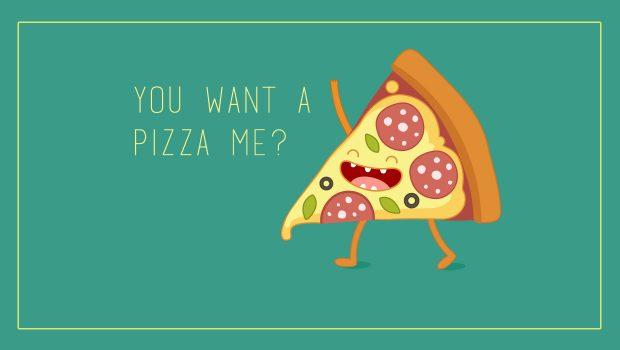 Pizza food puns card