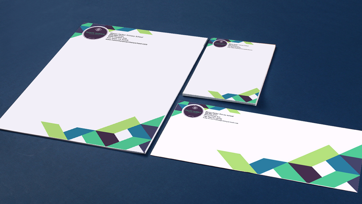 School letterhead and envelopes