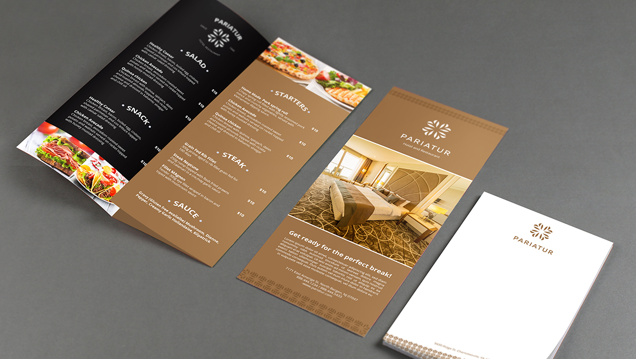 Hotel flyer, brochure, and stationery