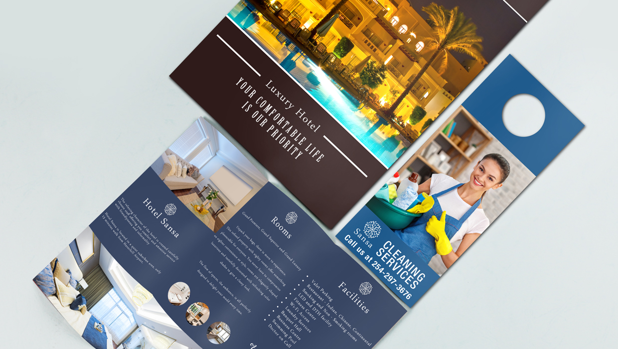 a selection of hotel print materials