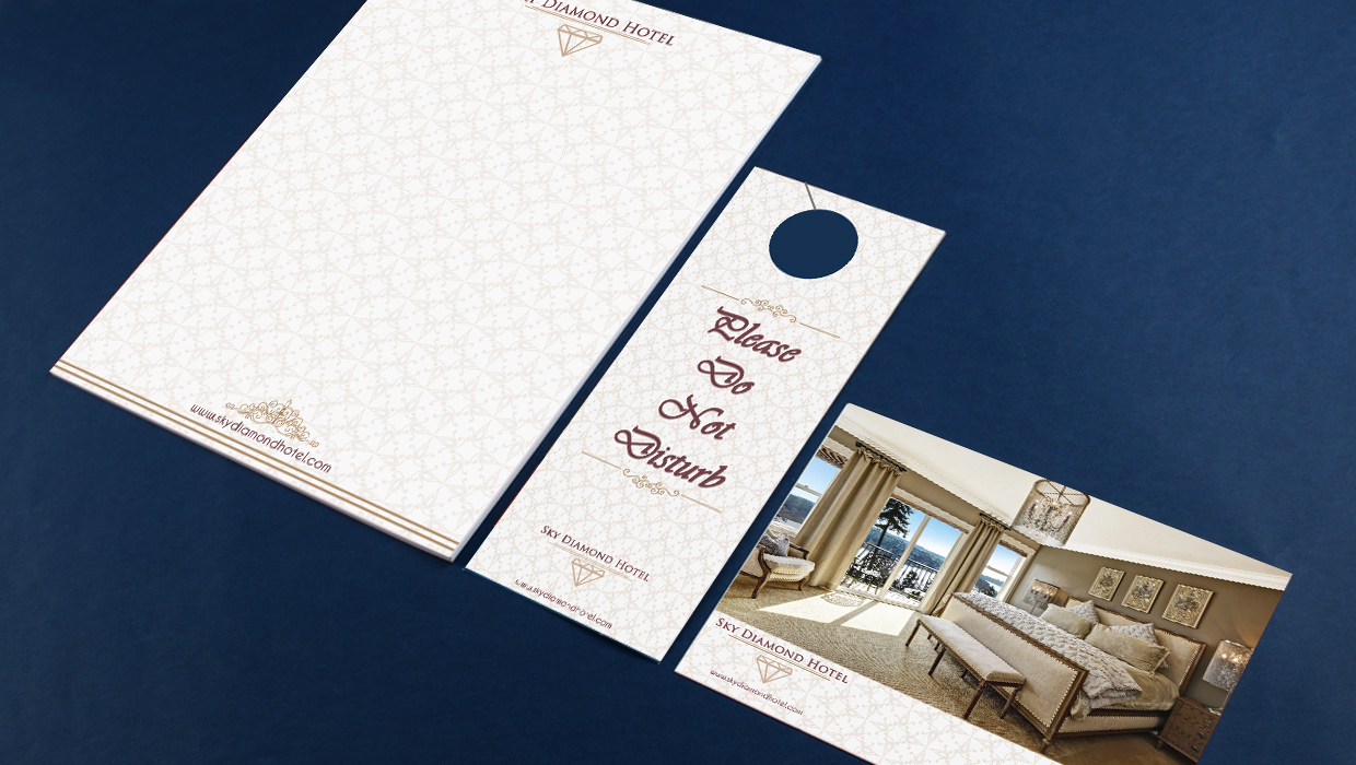 hotel notepad postcard and door hanger