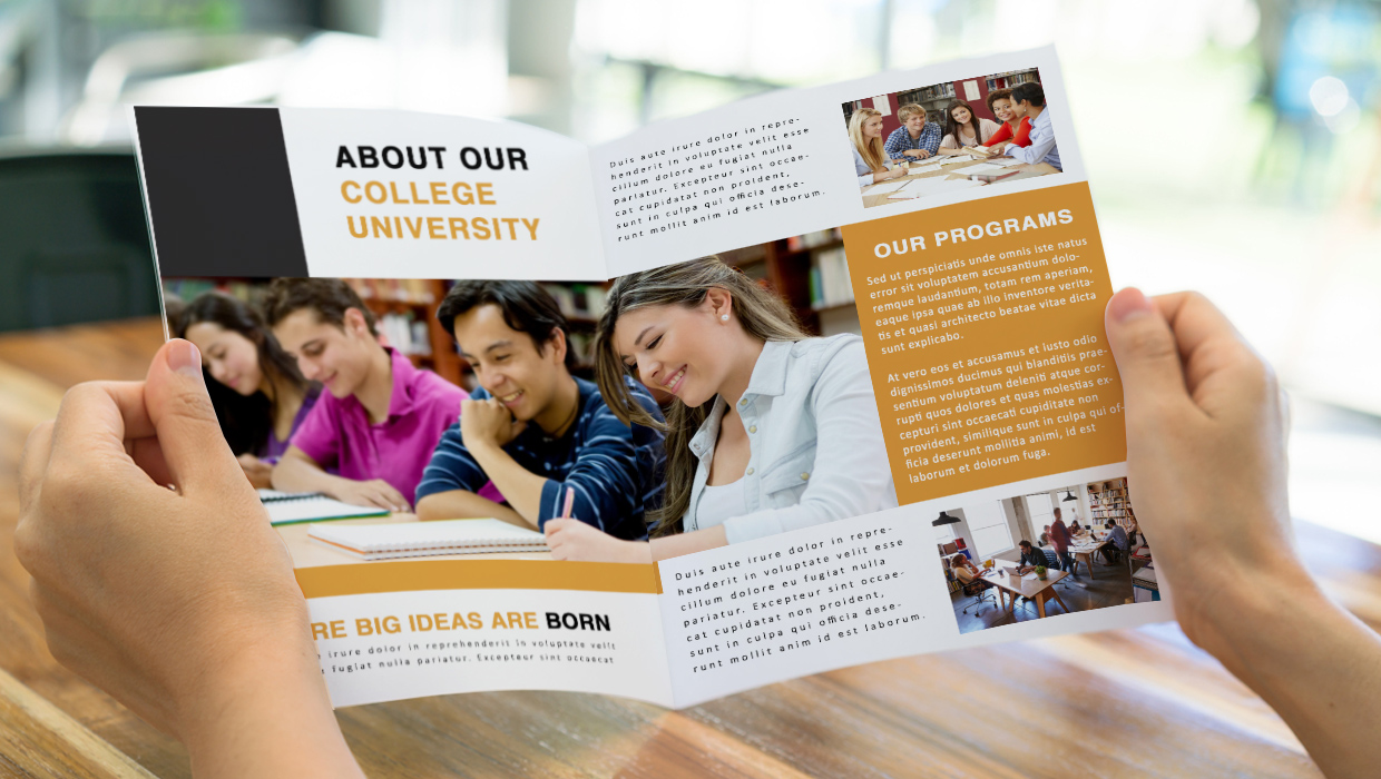 educational brochure with photos
