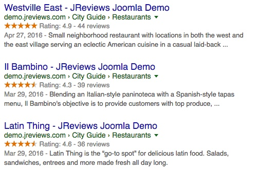 rich snippets example via 3rd party website