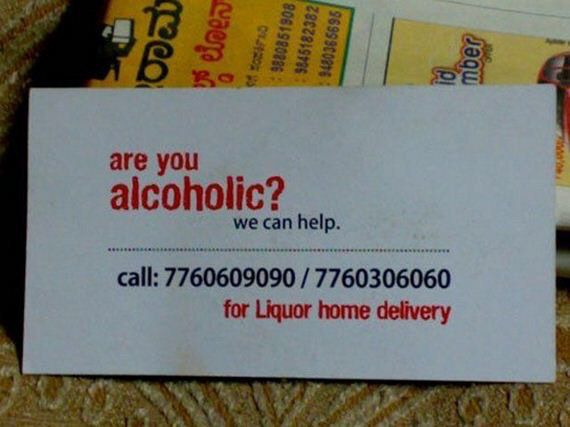 Unknown booze delivery service business card
