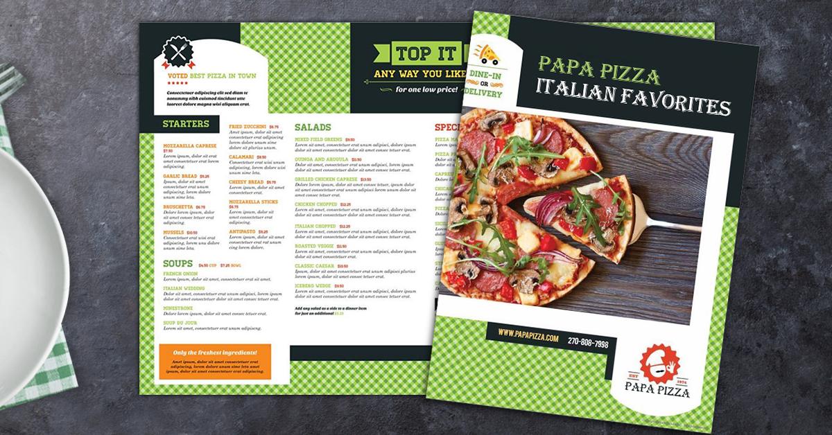 pizza menu sample