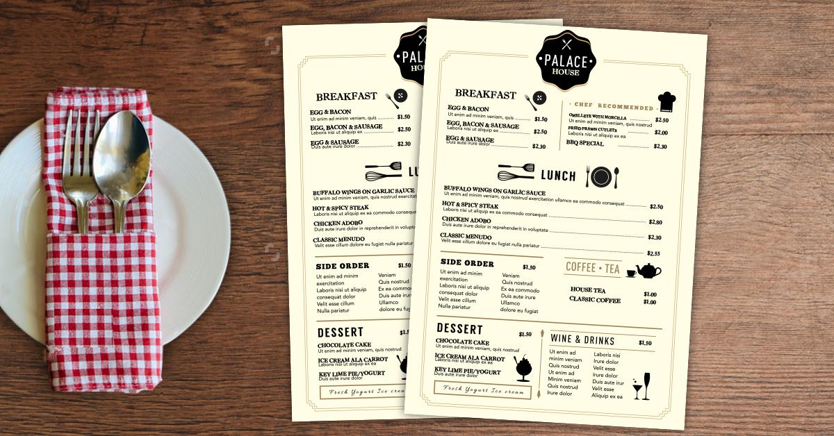 Seafood menu sample