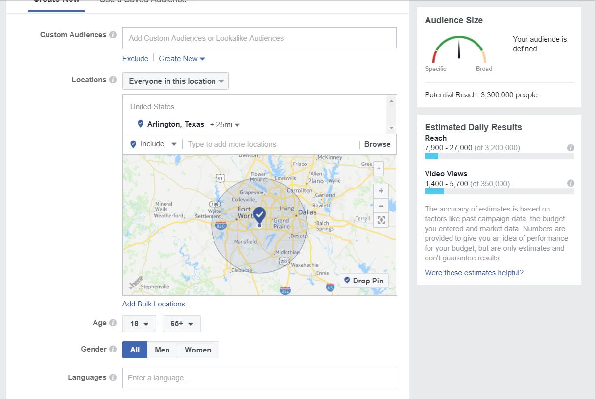 Custom Facebook audience