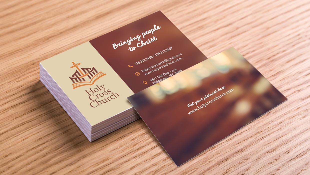 A set of church business cards.