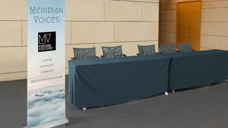 Meridian Voices retractable banner